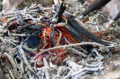 coals of the burned-down fire - stock photo