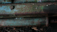 Blue Corroded Piece Industrial Metal - 29,97FPS NTSC - stock footage