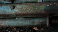 Stock Video Footage of Blue Corroded Piece Industrial Metal – 29,97FPS NTSC