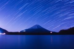 Mount Fuji and star trails of winter stars Stock Photos