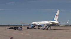 President Obama and Vice President Biden land at  Pennsylvania Stock Footage