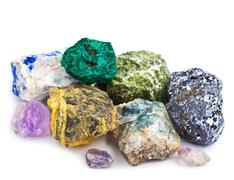 Collection of minerals isolated Stock Photos