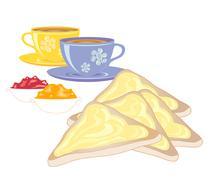 buttered toast - stock illustration