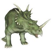 aggressive dinosaur styracosaurus - stock illustration