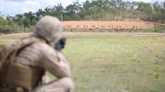 MRF-D Marines Send Rounds Down Range Stock Footage