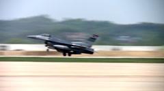F-16 fighter jet landing Stock Footage