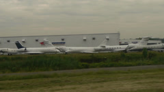 Private Jets Parked at Teterboro Airport Stock Footage