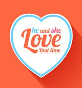 Valentine heart he and she best time Stock Illustration