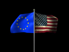 Usa Euro Flags Loop Stock Footage