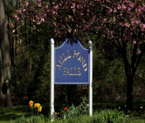Mill pond falls sign Stock Footage