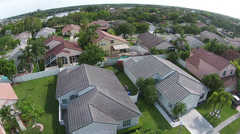 Aerial view of suburban homes - stock footage