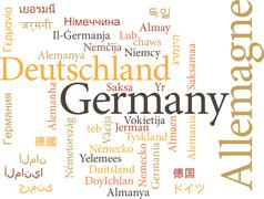 vector illustration of germany in word clouds isolated on white background - stock illustration