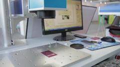 Laser engraving on metal card Stock Footage