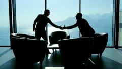 Handshake of businessman. meeting. discussion. client. luxury interior Stock Footage
