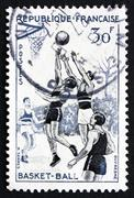Postage stamp France 1956 Basketball, Team Sport - stock photo
