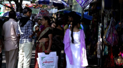 India Kerala Kochi Cochin City 029 bazaar scene with people and auto rickshaw - stock footage