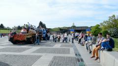 People in World War II museum celebrates Victory Day in Kiev, Ukraine. Stock Footage