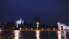 City view at square near Smolensky Cathedral, timelapse Stock Footage