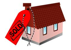 Sold sign and home Stock Illustration