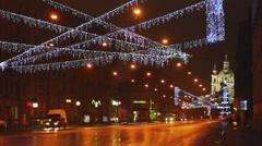 Christmas decoration near Smolny cathedral, Saint Petersburg Stock Footage