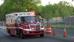 EMS Ambulance, DC approach & passes, siren 4K Stock Footage