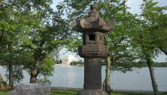 Stone Lantern zoom from Jefferson Memorial 4k Stock Footage
