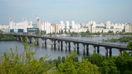 Stock Video Footage of long bridge over river in sunny day,