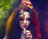 Stock Photo of Woman and smoke.