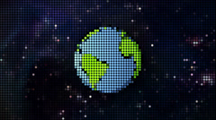 Cartoon planet in space pixel style Stock Footage