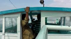 India Kerala Kochi Cochin City 034 bridge of a backwater's boat - stock footage