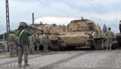 Tank Guided into Parking - stock footage