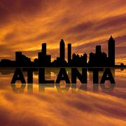 Atlanta skyline reflected with text and sunset illustration Piirros