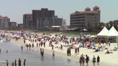 Jacksonville Beach South with tents - stock footage