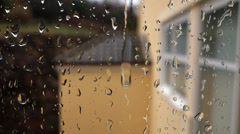 Raining outside the building - stock footage