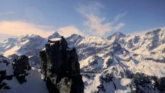 Snow mountain panorama. mountain peak. alps glaciers. aerial view Stock Footage