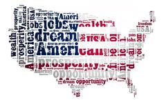 american dream concept with word cloud on white background - stock illustration