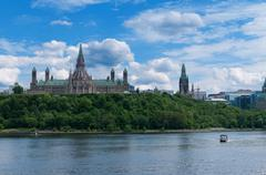 Canadian parliament hill viewed from across ottawa river during a beautiful s Stock Photos
