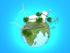 Stock Illustration of Energy Sources on the Green Earth