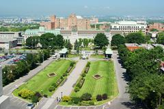 Front garden outside st. joseph's oratory in montreal Stock Photos