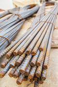 closeup steel rods for new building - stock photo