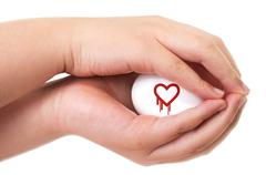 heartbleed exploit concept with two hands handling an egg - stock photo