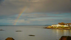 Rainbow over Victoria BC, Gonzales Bay Ocean Front Homes Stock Footage