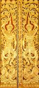 door of buddhist temple - stock photo