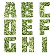 Alphabet from military fabric texture Stock Photos