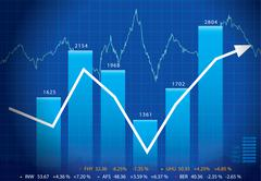 Stock Illustration of Vector Business graph with arrow showing profits and gains