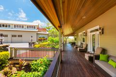 beautiful home exterior patio deck - stock photo