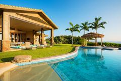 luxury home with swimming pool - stock photo
