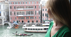 Ultra HD 4K Smiling woman girl female happy face enjoy Venice canal gondola boat Stock Footage