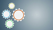Animated 3d gears on grey background. Looped animation. Stock Footage