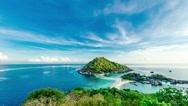 Stock Video Footage of 4k Timelapse of tropical island with blue sky.